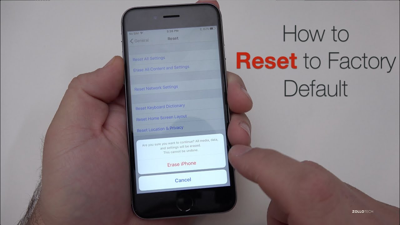 Reset the iPhone to factory default settings