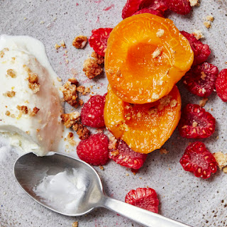 Mascarpone Ice Cream with Apricots, Raspberries, and Honey Granola Recipe