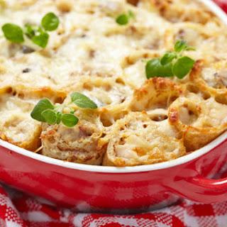 Chicken & Mushroom Crepe Casserole.