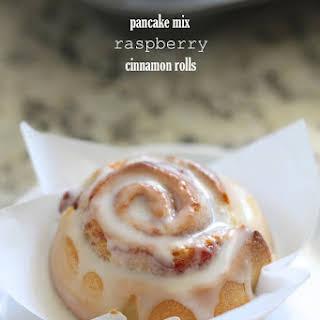 Pancake Mix Raspberry Cinnamon Rolls.