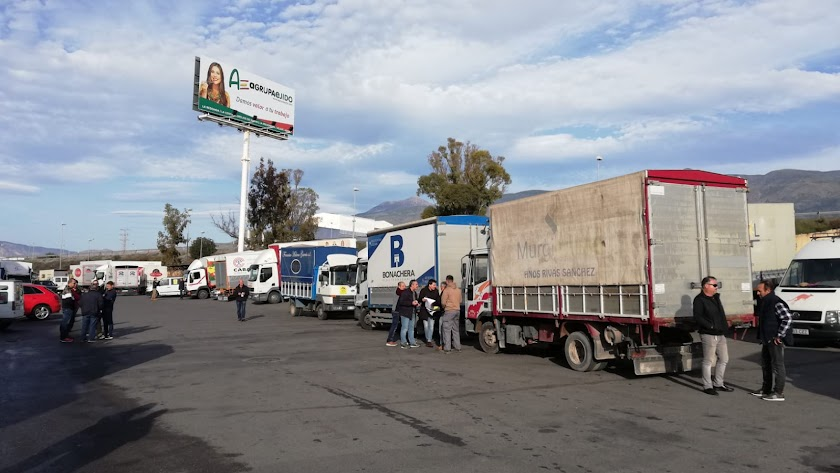Transportistas de frutas y hortalizas del Poniente almeriense.