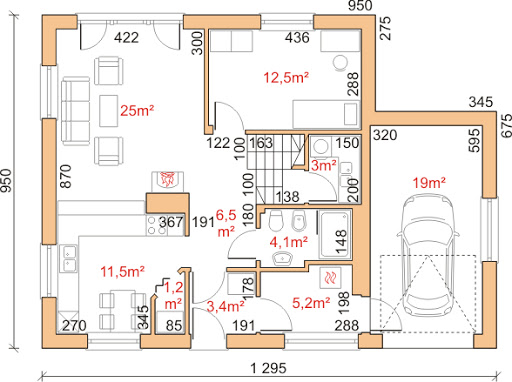 Dom przy Cyprysowej 9 - Rzut parteru