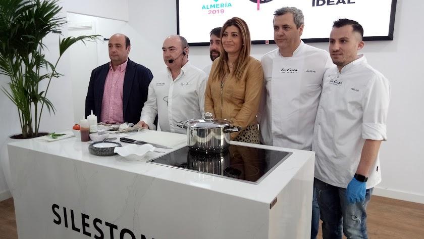 Los chefs durante la presentación de la actividad