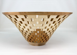 "Photo: Bob Grudberg 13"" x 6"" open-segmented bowl [cherry, maple]"