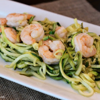"Garlic Shrimp with Zucchini ""Noodles""."