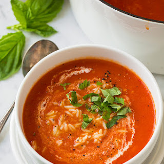 Creamy Roasted Red Pepper Tomato and Orzo Soup