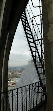 Photo: This ladder leads to the viewing platform in the small rear tower; I balked.