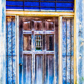 What's Behind the Blue Door by Joan Sharp - Uncategorized All Uncategorized ( door, blue, old, yellow, weatherbeaten,  )