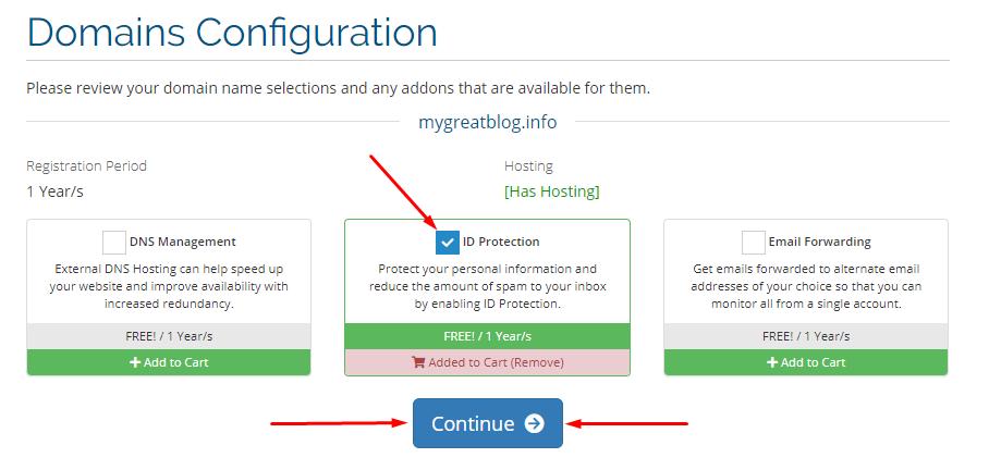 Domains configuration page