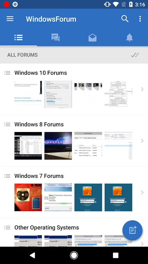 Windows Forums- screenshot