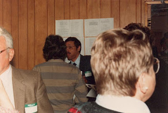 Photo: 1986. APLA-10. University of New Brunswick. Murray Kinloch Souvenir Album, 19  (left to right) Barbara Macaulay (back to camera), Maurice Holder, Rose Mary Babitch (back to camera)  Photograph by Jean Kinloch, caption by Murray Kinloch