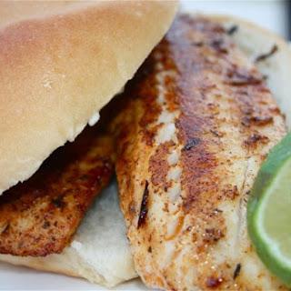 Blackened Tilapia Sandwich with Cilantro Lime Mayonnaise.