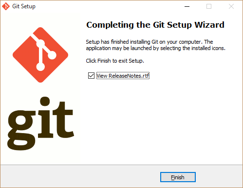 Installing git completed
