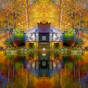 by Bente Agerup - City,  Street & Park  Neighborhoods ( water, houses, autumn, reflecions, trees )
