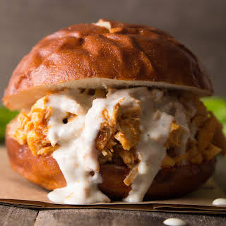 Buffalo Chicken Sliders with Easy Blue Cheese Dressing.