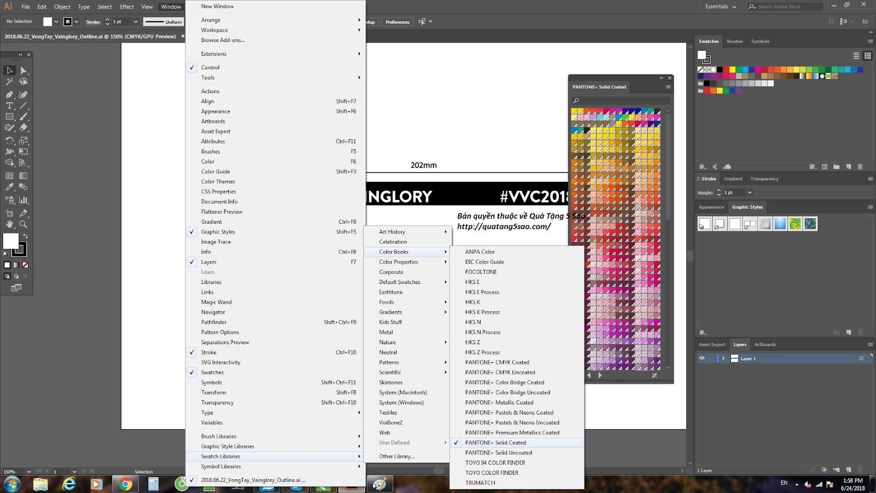 Bật chế độ màu PANTONE trong Adobe Illustrator