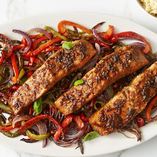 Honey-Soy-Glazed Salmon with Peppers.