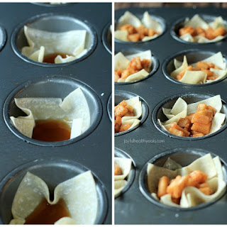 Caramel Apple Pie Wonton Cups with a Cinnamon Mascarpone Topping.