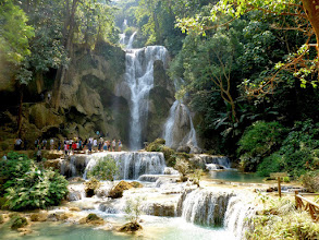 Photo: Beautiful and scenic Kuang Si falls is about five miles from the village on a tributary of the Mekong River.
