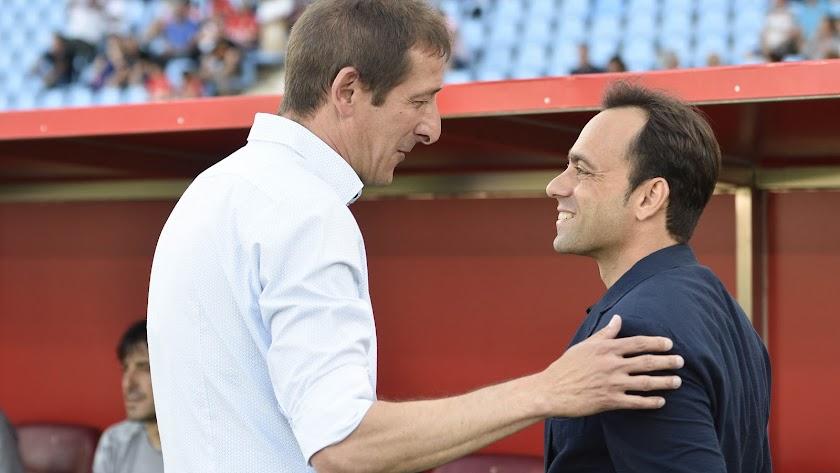 Luis Miguel Ramis y Fran Fernández en el Almería-Albacete.