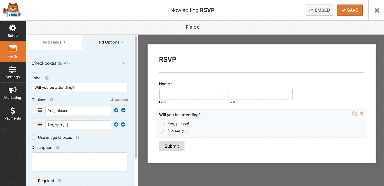 How to edit a field's label in WPForms