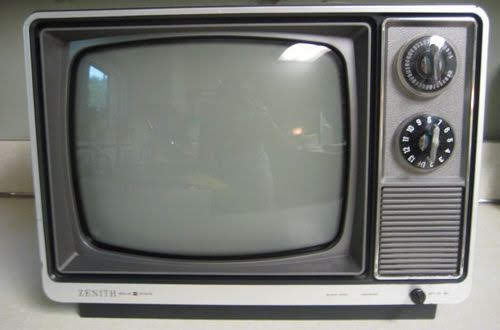 Two black and white TVs still in use in Welshpool