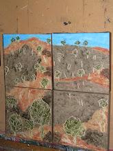 Photo: Adelong NSW four paintings Oil 40cmx40cm $60