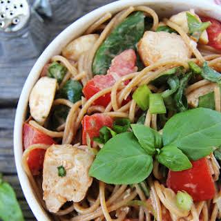 Grilled Chicken Caprese Pasta Salad.
