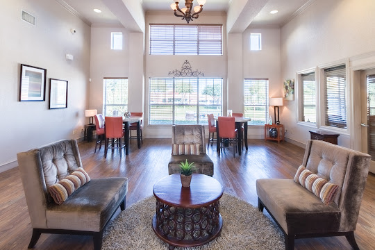 Upscale clubhouse with seating area