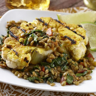 Grilled Curried Cauliflower Steaks with Spiced Lentils and Spinach