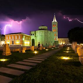 St. Donat wrath  by Davor Strenja - City,  Street & Park  Historic Districts ( lights, old, st.donat, croatia, night, lightnings, zadar, roman, city,  )