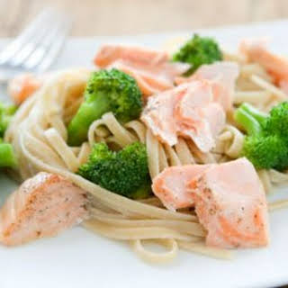 Roasted Salmon and Broccoli with Lemony Linguine.