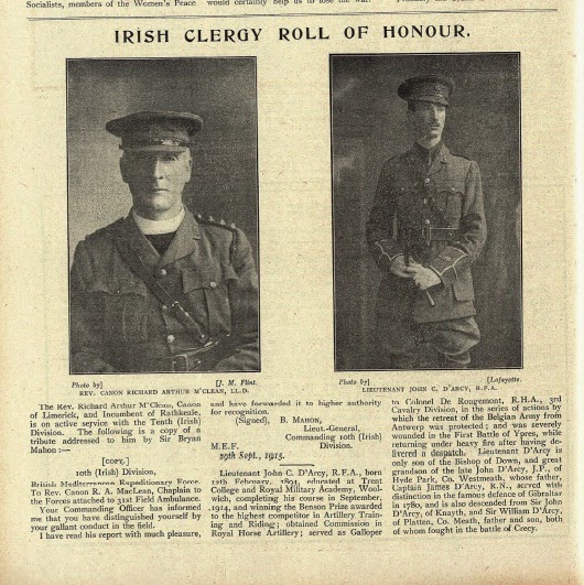 Photo: Revd Canon Richard Arthur McClean & Lieut. John C. D'Arcy, 17 December 1915