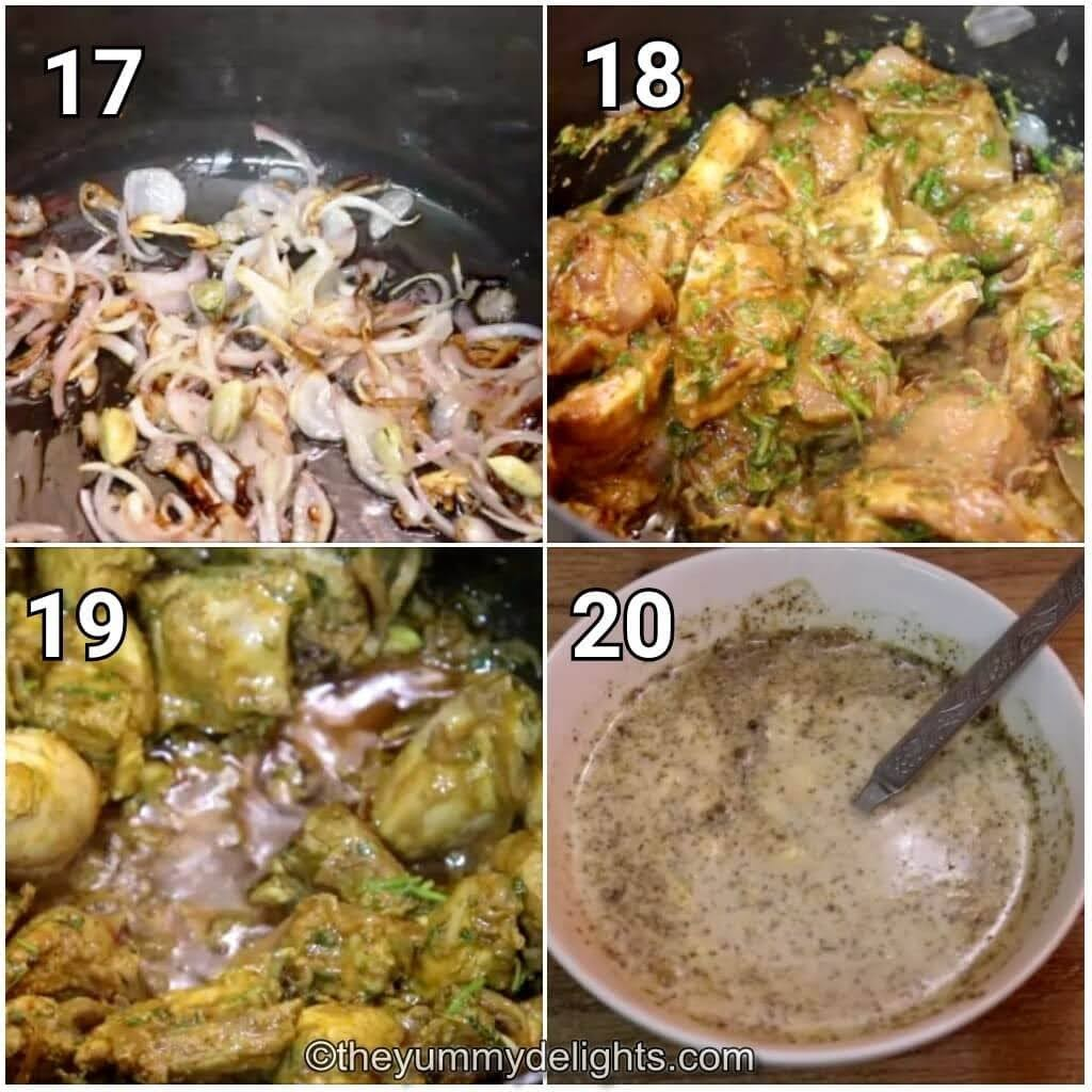 step by step image collage of cooking the biryani gravy.