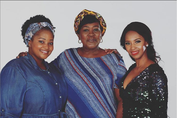 Actress Siyasanga Papu, left, plays Pretty in 'Gomora', Connie Chiume is her mother, Sonto, and Katlego Danke is the favourite daughter, Thati.