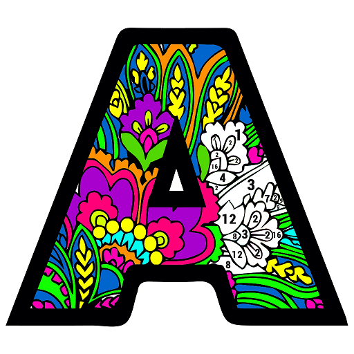 Alphabets Color by Number Book: Pixel Art Coloring Icon