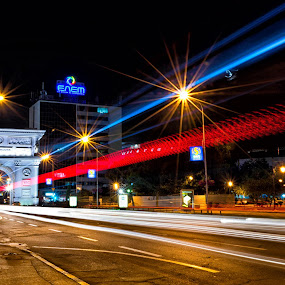The new Skopje  by Marko Gilevski - City,  Street & Park  Street Scenes ( urban, street, at night, light trails, scenic, nightscape, city )