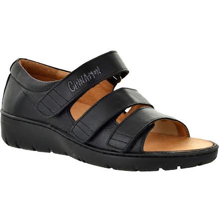 Kayla svart sandal med hälkappa och stretchparti