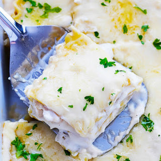 Slow Cooker Three Cheese Chicken Lasagna