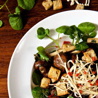 Marinated Mushroom Salad with Cumin Croutons and Watercress.