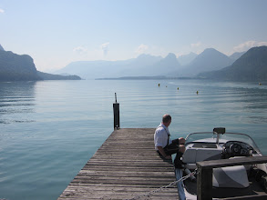Photo: 1st Speed Boat by Pier on Lake Fuschl, Austria by Cecily Atkinson