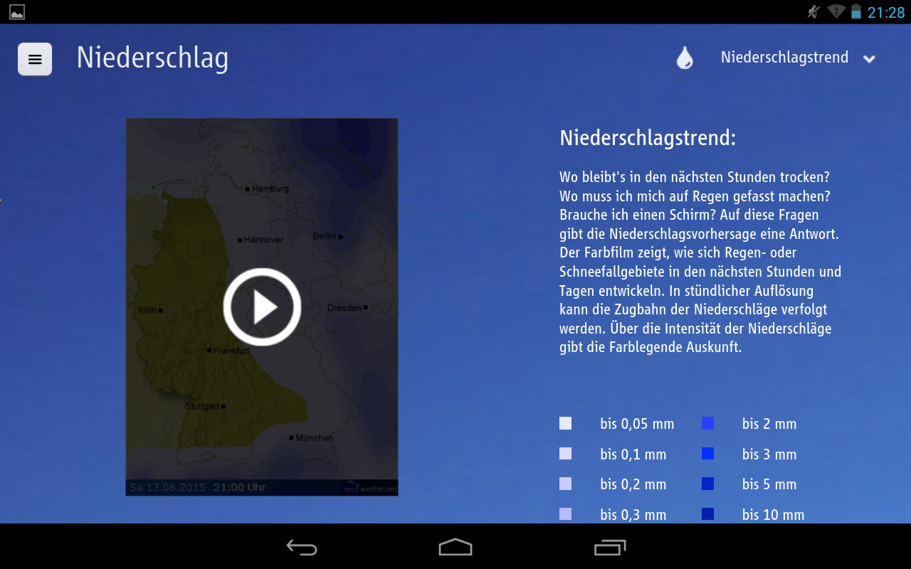 wetter.net (tablet app) – Screenshot