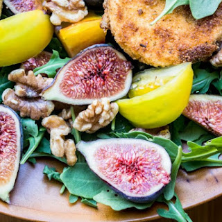 Fig and Fried Goat Cheese Salad with Spicy Nectarine Vinaigrete Recipe