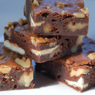 Fudge Brownies with Walnuts and White Chocolate.