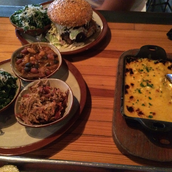 Cheeses corn no bread crumbs! Kale Slaw, side of beans and side of pulled pork