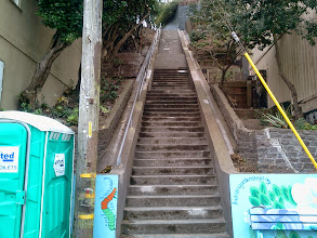 Photo: Power washing in progress: top section of the Hidden Garden Steps (16th Avenue, between Kirkham and Lawton streets in San Francisco's Inner Sunset District) after cleaning by KZ Tile employees on October 24, 2013 in preparation for installation of the 148-step ceramic-tile mosaic designed and created by project artists Aileen Barr and Colette Crutcher. For more information about this volunteer-driven community-based project supported by the San Francisco Parks Alliance, the San Francisco Department of Public Works Street Parks Program, and hundreds of individual donors, please visit our website at http://hiddengardensteps.org.