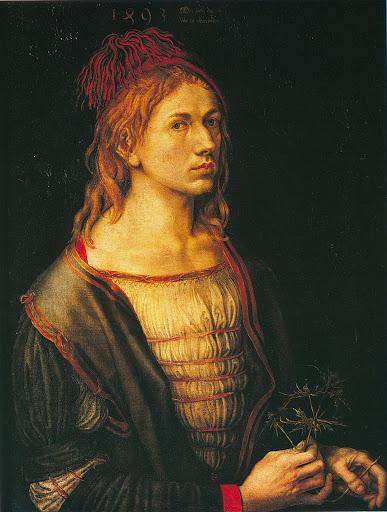 Portrait de l'artiste tenant un chardon, 1493, Musée du Louvre, Paris.
