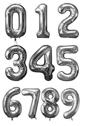 Folieballong siffra, silver