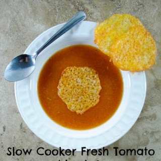 Slow Cooker Savory Tomato Leek Soup with Cheese Crackers