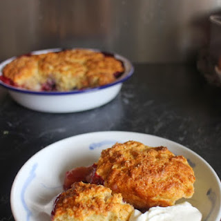 Peach and Berry Breakfast Cobbler with Oaty Buttermilk Biscuits